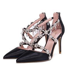 Women's Silk Like Satin Stiletto Heel Pumps Closed Toe With Rhinestone Zipper shoes