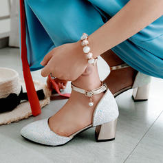 Women's Sparkling Glitter Chunky Heel Sandals Pumps With Rhinestone shoes
