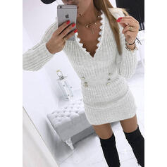Lace/Color Block Long Sleeves Bodycon Above Knee Casual Dresses