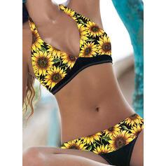 Blommig Tryck Grimma V-ringning Sexig Boho bikini Badkläder