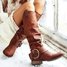 Femmes PU Talon bottier Bottes Bottes mi-mollets avec Boucle Couleur unie chaussures