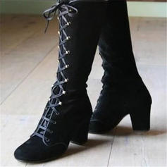 Women's PU Chunky Heel Knee High Boots With Rivet Lace-up shoes