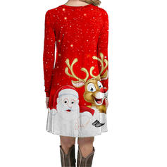 Print Long Sleeves Shift Knee Length Christmas Dresses
