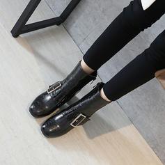 Frauen PU Stämmiger Absatz Absatzschuhe Stiefel Stiefelette mit Schnalle Reißverschluss Schuhe