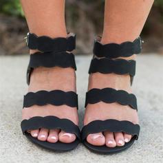 Women's PU Wedge Heel Sandals With Buckle shoes