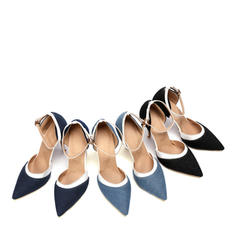 Women's Leatherette Denim Stiletto Heel Sandals Pumps Closed Toe shoes