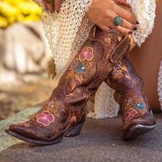 Naisten PU Chunky heel Mid-calf saappaat Ratsastussaappaat jossa Kirjailtu kengät