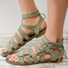 De mujer PU Tacón plano Sandalias Planos con Cordones zapatos
