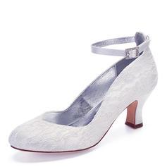 Women's Lace Chunky Heel Closed Toe With Rhinestone Stitching Lace