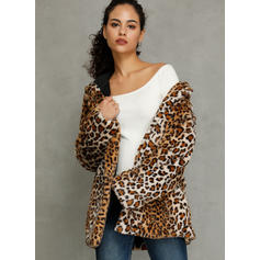 Polyester Manches longues Motif Animal Fausse fourrure