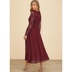 Koronka Długie rękawy W kształcie litery A Maxi Casual Sukienki