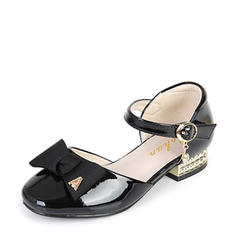 Girl's Leatherette Low Heel Round Toe Closed Toe Flower Girl Shoes With Bowknot Buckle Velcro
