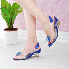 Dla kobiet PU Obcas Koturnowy Sandały Koturny Otwarty Nosek Buta Z Kwiaty obuwie