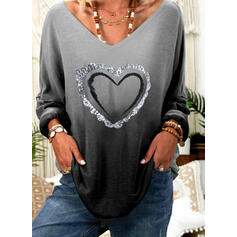 Print Sequins Gradient Heart V-Neck Long Sleeves Casual T-shirts