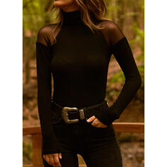 Solid High Neck Long Sleeves Elegant Blouses