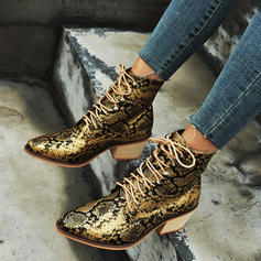 Women's PU Low Heel Chunky Heel Martin Boots With Lace-up shoes