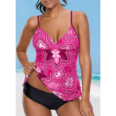 Floral Print Strap V-Neck Fashionable Casual Tankinis Swimsuits