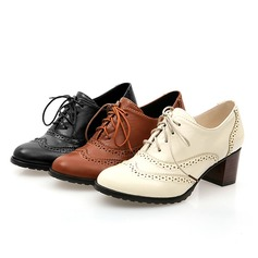 Women's Leatherette Chunky Heel Closed Toe With Lace-up Hollow-out shoes