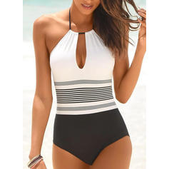 Stripe High Cut Halter Classic One-piece Swimsuits