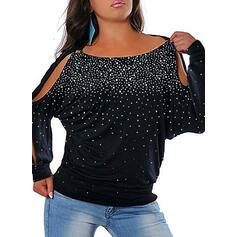 Pailletten Schulterfrei Lange Ärmel Große Größen Lässige Kleidung Blusen