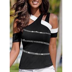 Color Block Sequins Cold Shoulder Short Sleeves Casual Blouses