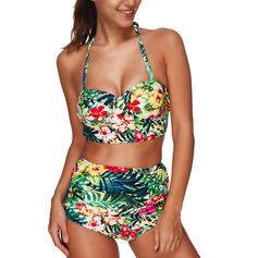 Floral Halter Elegant Bikinis Swimsuits