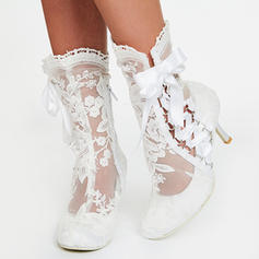 Women's Lace Spool Heel Boots Closed Toe Pumps With Stitching Lace