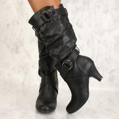 De mujer PU Tacón carrete Salón Botas con Hebilla zapatos