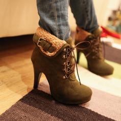 Kvinnor Mocka Cone Heel Plattform Stängt Toe Boots skor