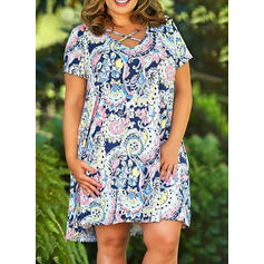 Plus Size Floral Print Short Sleeves Shift Above Knee Boho Casual Vacation Dress