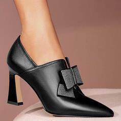 De mujer PU Tacón chupete Salón Top bajo con Rhinestone Bowknot Color sólido zapatos