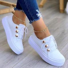 Femmes PU Talon plat Chaussures plates Low Top Tennis avec Dentelle Boutons chaussures