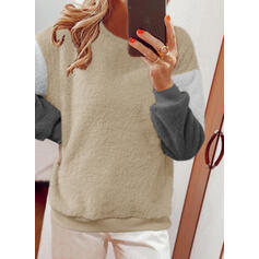 Impresión Trozos de color Cuello Redondo Manga Larga Sudadera