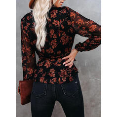 Print Floral V-Neck Long Sleeves Button Up Elegant Blouses