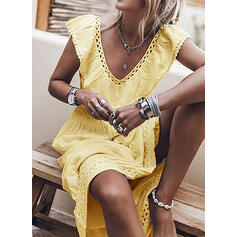 Solid Sleeveless A-line Knee Length Casual Dresses
