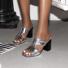 Mulheres Couro Salto robusto Sandálias Peep toe Chinelos sapatos