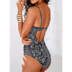 Print Strap V-Neck Sexy One-piece Swimsuits