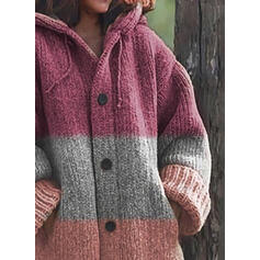 Color Block Chunky knit Hooded Casual Cardigan