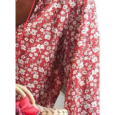 Estampado Floral Decote em V Manga Comprida Casual Elegante Blusas