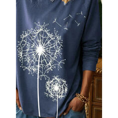 Print Round Neck Long Sleeves Casual T-shirts