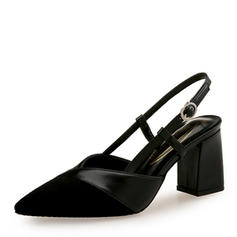 Women's Suede PU Chunky Heel Pumps Closed Toe With Buckle shoes