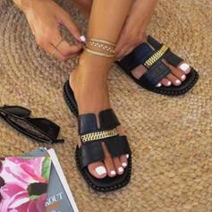 Női PU Lapos sarok Szandál Lakások Peep Toe Papucs -Val Lánc Hálós ruha cipő