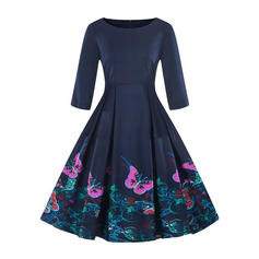 Print 1/2 Sleeves A-line Knee Length Vintage/Elegant Dresses