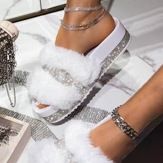Низька підошва Сандалі Тапочки з Сіяючі камені Хутро взуття