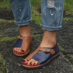 Kvinder PU Flad Hæl sandaler Fladsko Kigge Tå med Delt Bindeled sko