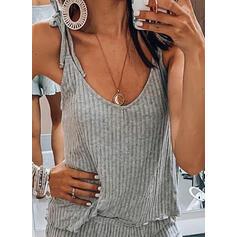 U-Neck Sleeveless Solid Color Attractive Top & Short Sets