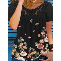 Blomstrete Trykk Blonder Rund hals Kortermer T-skjorter