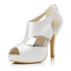 Women's Satin Stiletto Heel Peep Toe Sandals With Zipper