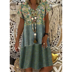 Print/Floral/Striped Short Sleeves Shift Knee Length Casual T-shirt Dresses