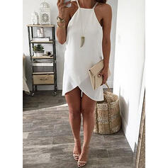 Solid Sleeveless Shift Asymmetrical Casual/Vacation Dresses